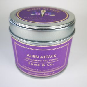 Alien Attack Tin Candle