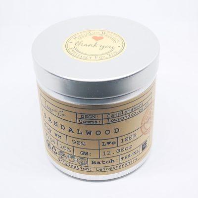 Sandalwood Soy Tin Candle