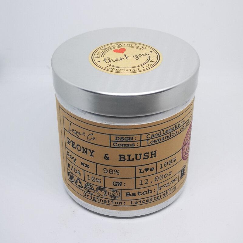 Peony & Blush Soy Tin Candle.
