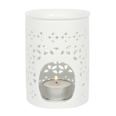 White Pierced Wax Burner