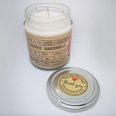 TheLowe & Co Cherry Bakewell- Jar Candle - A sweet Cherry Bakewell tart fragrance with notes of vanilla, cherry and creamy almond.