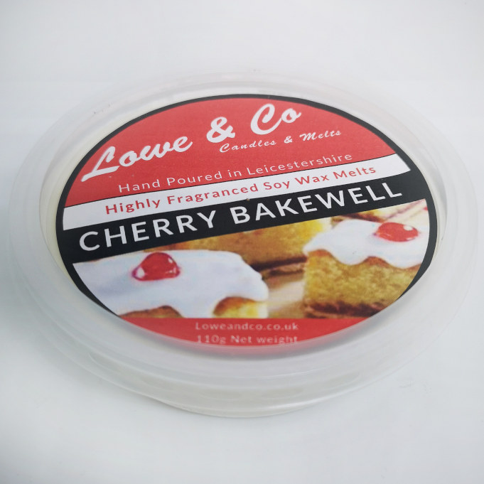 The Lowe & Co Cherry Bakewell Melt Pod Melt Pod. A sweet Cherry Bakewell tart fragrance with notes of vanilla, cherry and creamy almond.