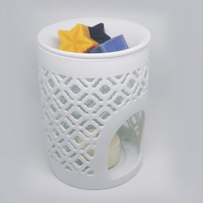 White Lattice Cut Wax Burner Gift Set