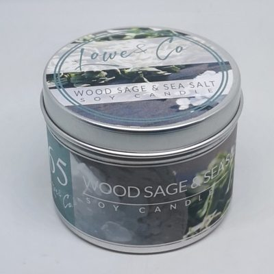 The Lowe & Co Wood Sage & Sea Salt travel candle