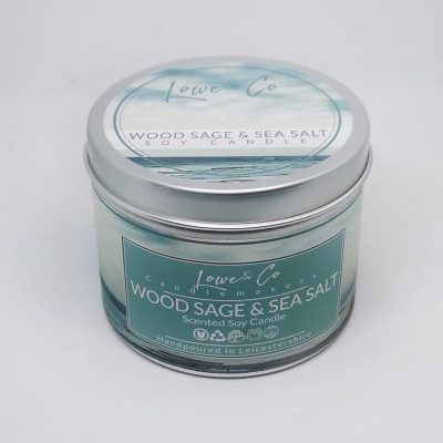 Wood Sage & Sea Salt Soy Tin Candle.