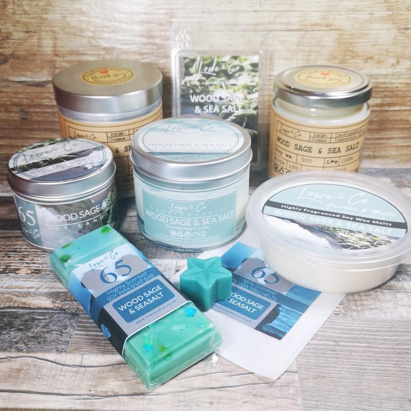 Wood Sage & Sea Salt Soy Wax candles and wax melts