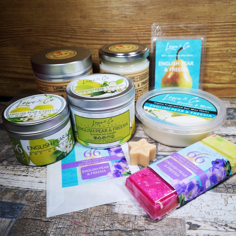 English Pear & Freesia Soy Candles and wax melts