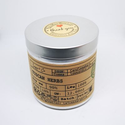The Lowe & Co Tuscan Herbs Soy Tin Candle.