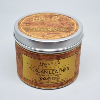 Tuscan Leather Soy Tin Candle