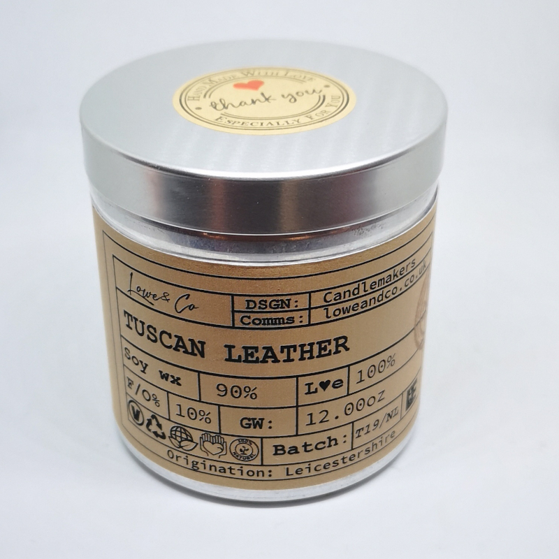 Tuscan Leather Soy Tin Candle.
