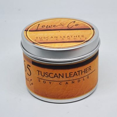 Tuscan Leather travel candle