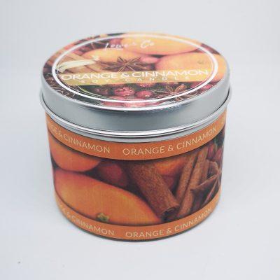 Orange & Cinnamon Soy Tin Candle.